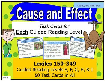 Cause and Effect Task Cards For Each Guided Reading Level