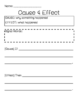 Cause and Effect Writing Template