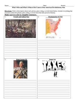 Cause of the American Revolutionary War: Who's Who and Wha