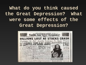 Causes and Effects of The Great Depression Powerpoint: 26 slides