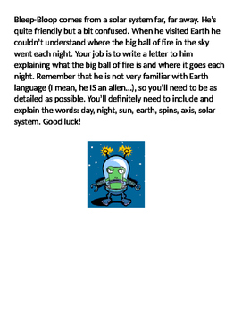 Causes of Day and Night Alien Writing Assessment