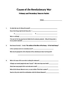 Causes of Revolution Primary Source packet