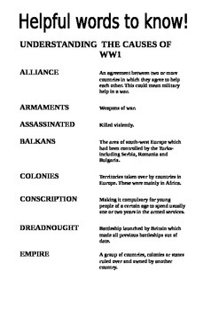 Causes of World War One Key Words