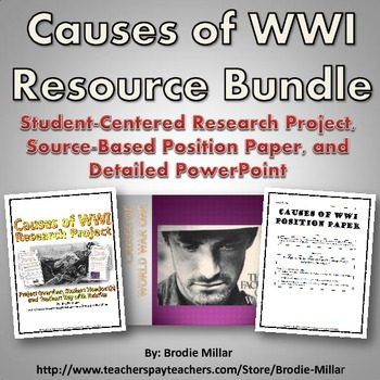 World War One (WWI) Causes - Resource Bundle (Project, Pos