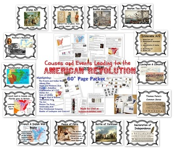 Causes of and Events Leading to the American Revolution Packet
