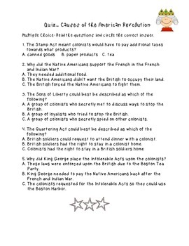 Causes of the American Revolution Quiz
