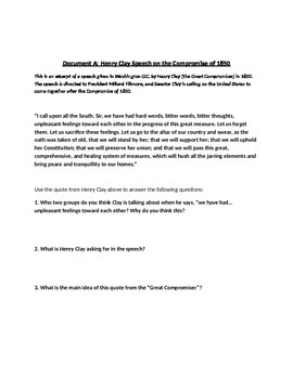 Causes of the Civil War Primary Source DBQ