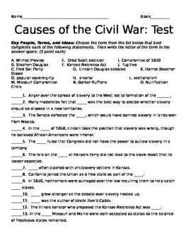 Causes of the Civil War Test