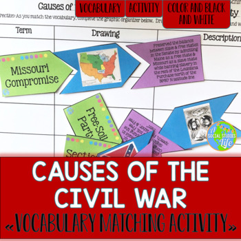 Causes of the Civil War Vocabulary Matching Activity and R