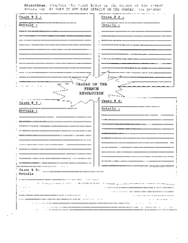 Causes of the French Revolution Graphic Organizer