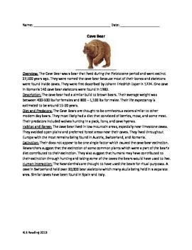 Cave Bear - Extinct - Review Article - Questions Vocab Wor