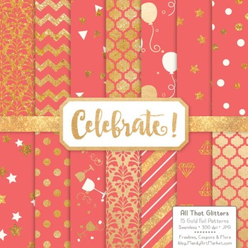 Celebrate Gold Foil Digital Papers in Coral