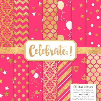 Celebrate Gold Foil Digital Papers in Hot Pink