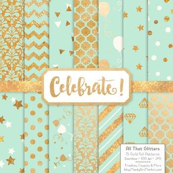 Celebrate Gold Foil Digital Papers in Mint