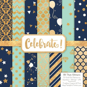 Celebrate Gold Foil Digital Papers in Navy & Mint