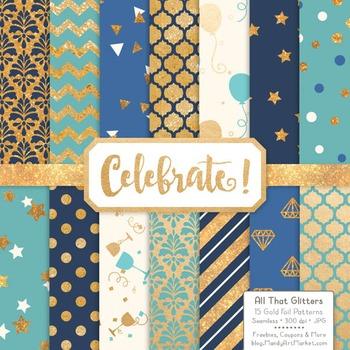 Celebrate Gold Foil Digital Papers in Oceana