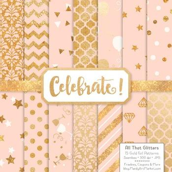 Celebrate Gold Foil Digital Papers in Peach