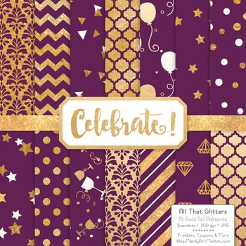 Celebrate Gold Foil Digital Papers in Plum