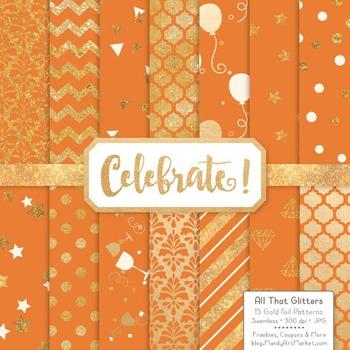 Celebrate Gold Foil Digital Papers in Pumpkin