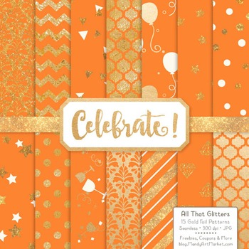 Celebrate Gold Foil Digital Papers in Tangerine