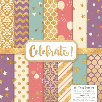 Celebrate Gold Foil Digital Papers in Vintage