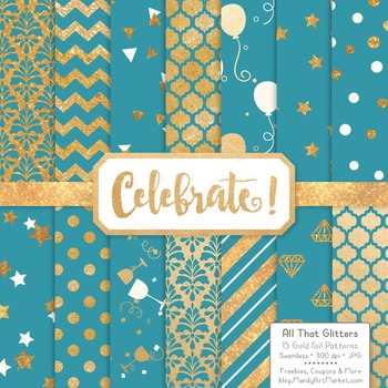 Celebrate Gold Foil Digital Papers in Vintage Blue