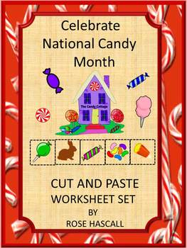 NO PREP Candy Math Cut and Paste Worksheets P-K,P, Special