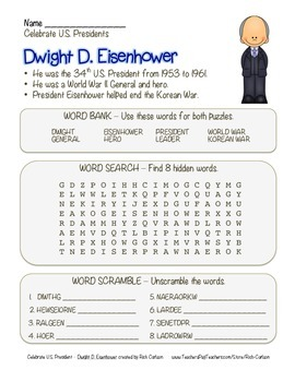 Celebrate U.S. Presidents Dwight Eisenhower Search, Scramb