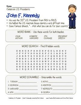 Celebrate U.S. Presidents – John F. Kennedy -Search,Scramb