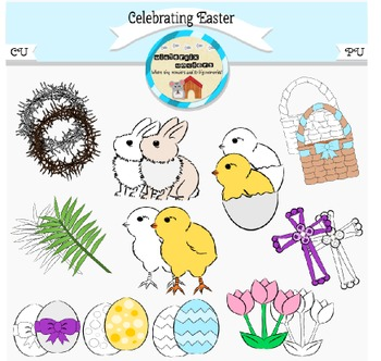 Celebrating Easter - Bunny - Chick - Clip Art