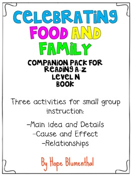 Celebrating Food and Family- Companion Pack for Reading a-z book