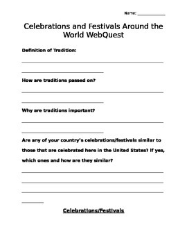 Celebrations and Festivals Around the World Webquest Recor