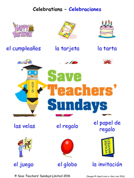 Celebrations in Spanish Worksheets, Games, Activities and
