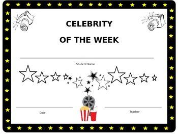Celebrity of the Week Certificate