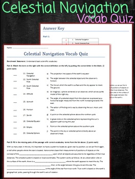 Celestial Navigation Vocab Quiz