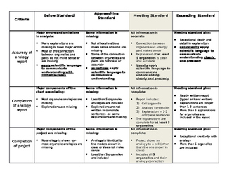 Cell Analogy Rubric