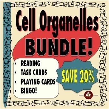 Cell Organelles Bundle: Reading, Task Cards, Playing Cards