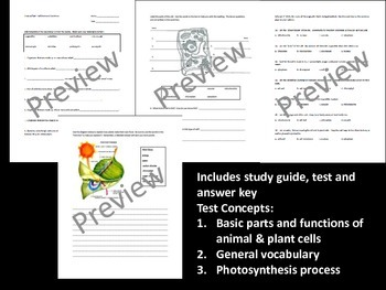 Cell Parts and Functions Test Materials
