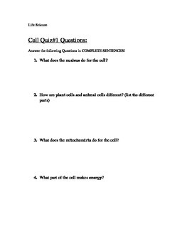 Cell Quiz - Part 1