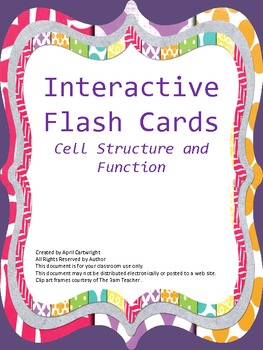 Cell Structure and Function Interactive Vocabulary Flash Cards