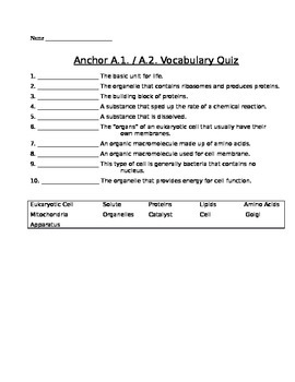 Cell Theory Vocabulary Quiz Assessment (Quiz)