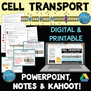 Cell Transport Across Cell Membranes PowerPoint, Notes, an