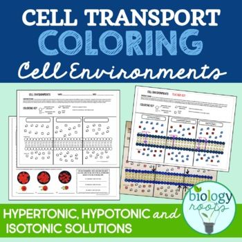 Cell Transport Coloring- Hypertonic Hypotonic Isotonic