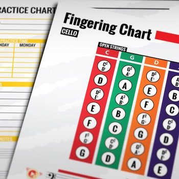 Music: Cello Fingering Color Chart w/ Worksheet & Practice Chart