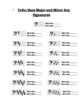 Cello/Bass Major and Minor Key Signatures
