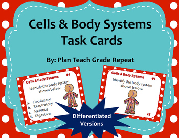 Cells & Body Systems Task Cards (Differentiated)
