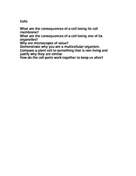 Cells - Higher Order Thinking Questions