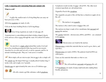 Cells:  Plant and Animal Cells Student worksheets and test