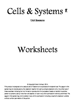 Cells & Systems Worksheets