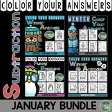 Color By Numbers Winter Subtraction Bundle